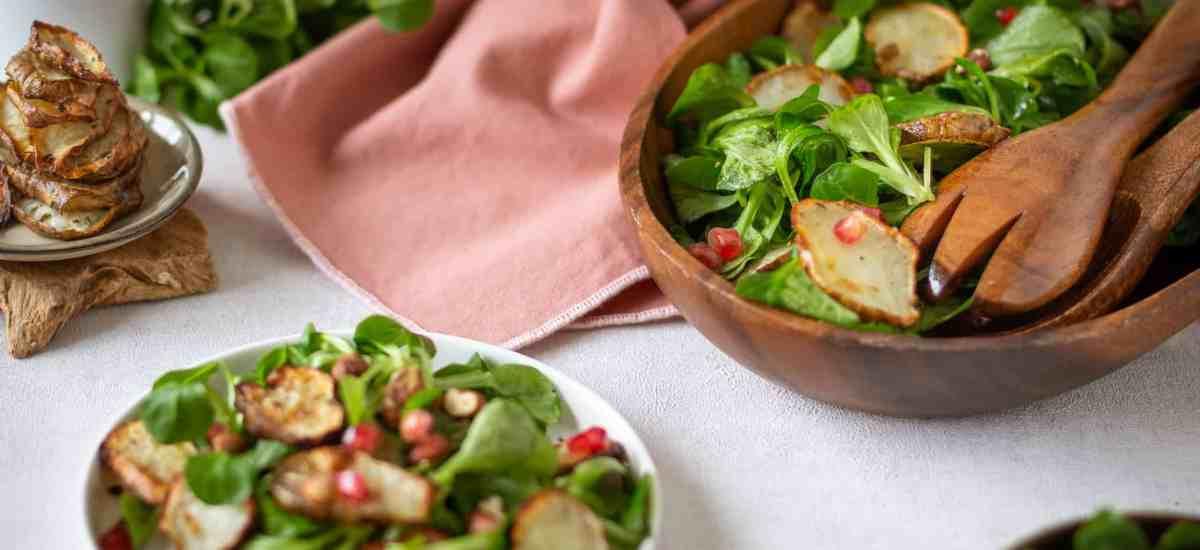 Salade d'hiver de Mâche et Topinambours Rôtis (Vegan et Sans Gluten)