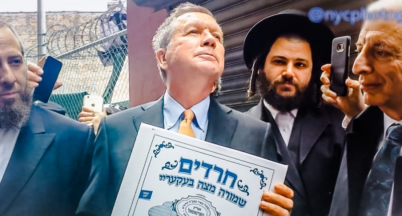 John Kasich gives a Bible lesson to Jewish voters in Brooklyn (YouTube/screen grab)