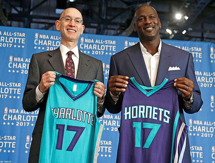 From left: NBA commissioner Adam Silver with Charlotte Hornets owner and retired NBA great Michael Jordan when they announced last year that the 2017 All-Star Game would be held in Charlotte.
