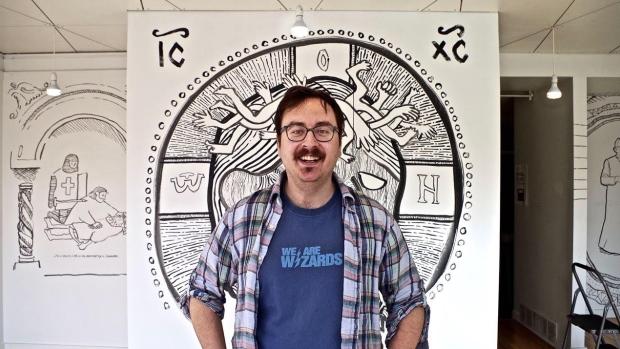 Borys Tarasenko is the Edmonton artist behind a new exhibit at the Bleeding Heart Art Space. (Dave von Beiker)