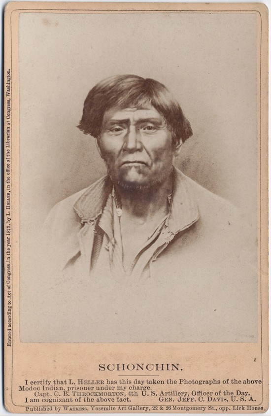 This image of Schonchin was among those taken by Louis Herman Heller during and after The Modoc War. (Housed at: Beinecke Rare Book and Manuscript Library)