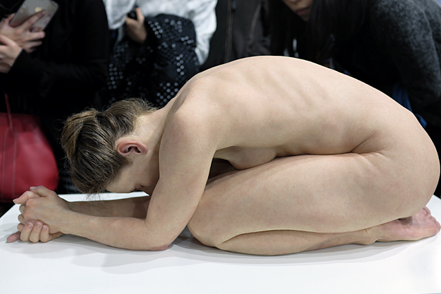 Artist: Sam Jinks; Title: Kneeling Woman (2015); Art Central 2016 (Gallery: Marc Straus); Silicone, pigment, resin and human hair; Photo by longzijun.