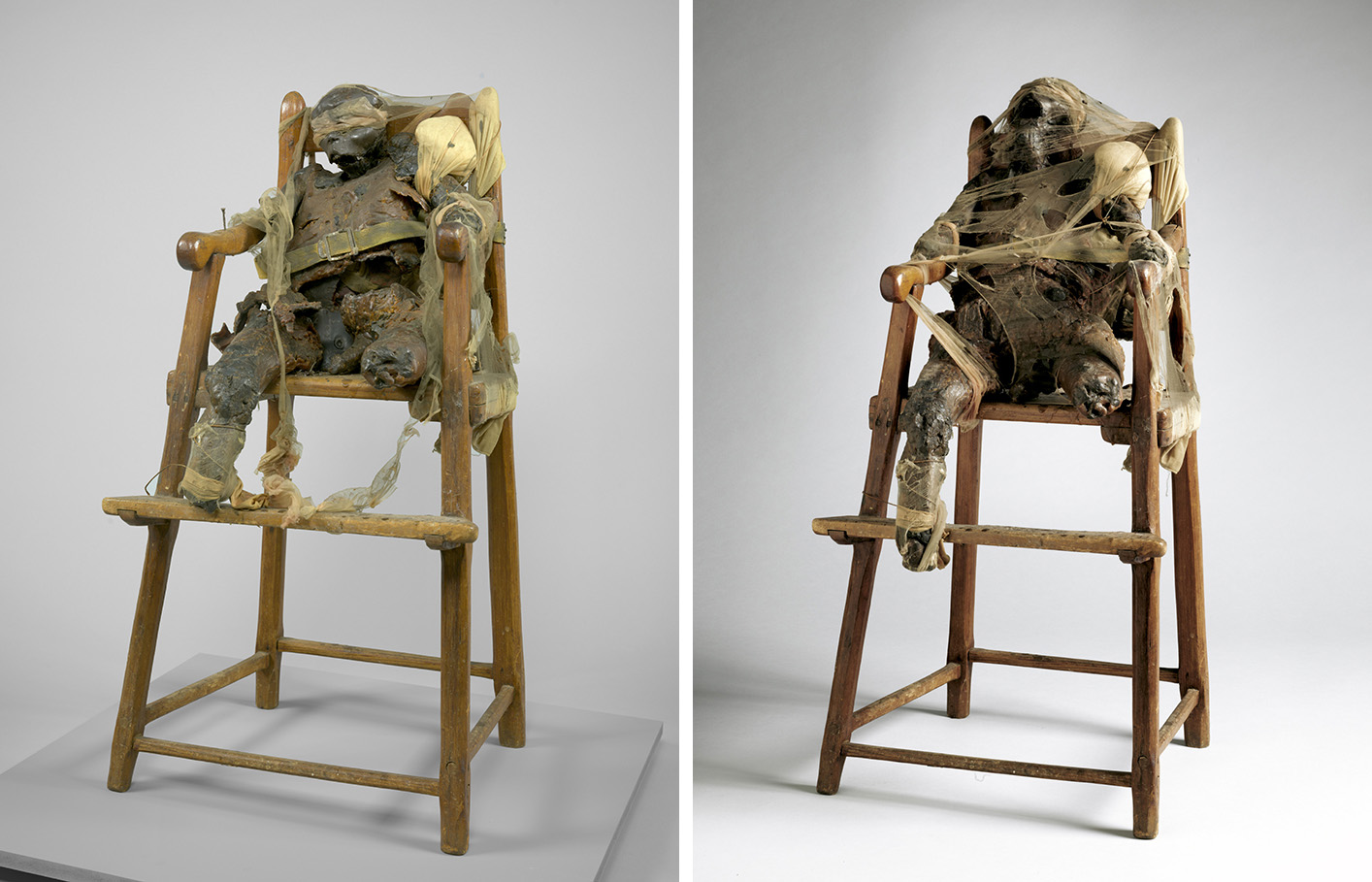 At left, 2015 photograph of CHILD prior to conservation treatment. At right, CHILD after treatment in January 2016. All images courtesy of MoMA, New York