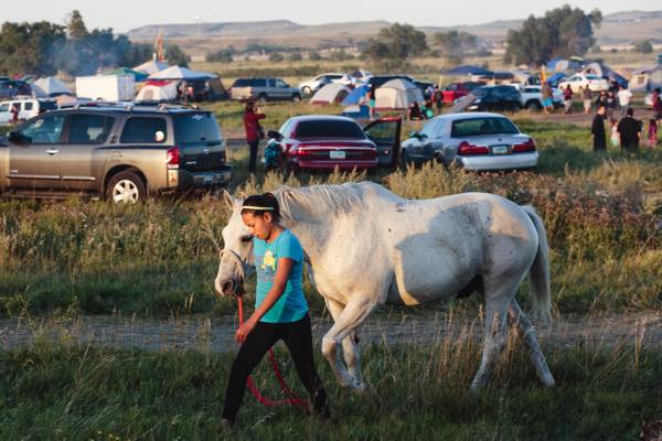 Children and teens from Standing Rock and surrounding Lakota/Dakota communities rode and led bareback horses around the camp to demonstrate their traditional horse culture. (Photo: Thosh Collins)