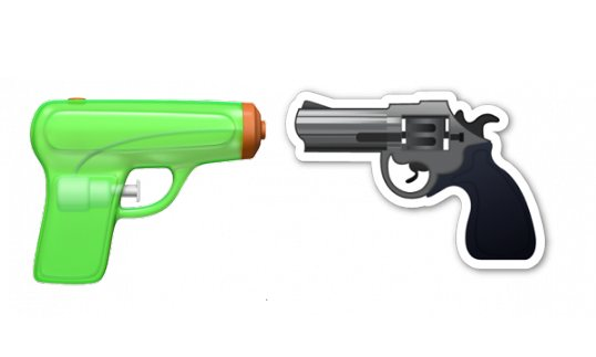 The new water pistol emoji and the old gun emoji by Apple. Photograph: Apple.