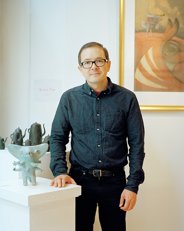Shaun Tan, photographed at the Illustration Cupboard gallery in London in June with the Fox, one of the characters from his new book