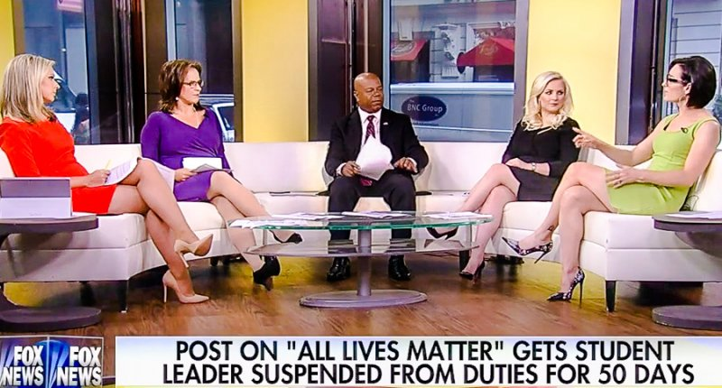 Fox News presenters Sandra Smith, Lisa Kennedy Montgomery, Elizabeth McDonald and Meghan McCain speak to guest David Webb (center)