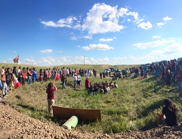 "Dakota Access Pipeline Protest In North Dakota. Photo Credit: ""No Dakota Access in Treaty Territory – Camp of the Sacred Stones""."