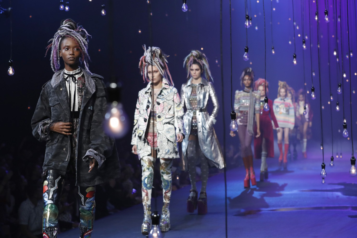 "FILE - In this Sept. 15, 2016, file photo, the Marc Jacobs Spring 2017 collection is modeled during Fashion Week in New York. Jacobs was criticized for showcasing white models in dreadlocks during the show. A screengrab showed Jacobs later responding on Instagram that he doesn't see color or race. In a separate post on Sunday, Sept. 18, 2016, Jacobs said he was sorry for ""the lack of sensitivity"" in responding to critics. (Mary Altaffer, File/Associated Press)."