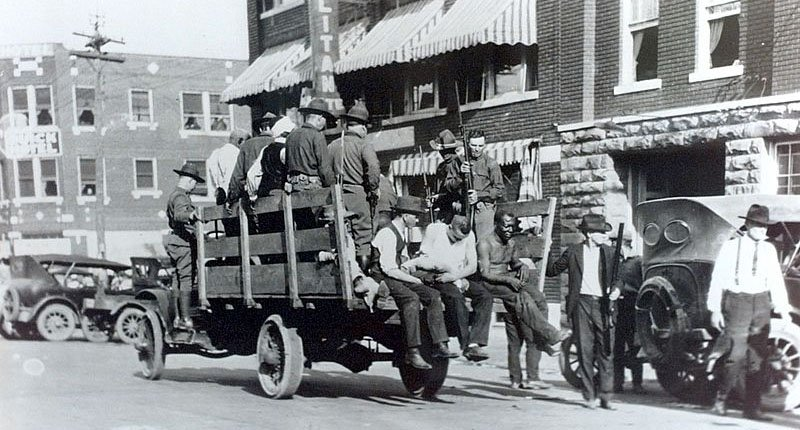 National Guard and wounded during 1921 Tulsa race riots (Tulsa World/Wikimedia Commons).