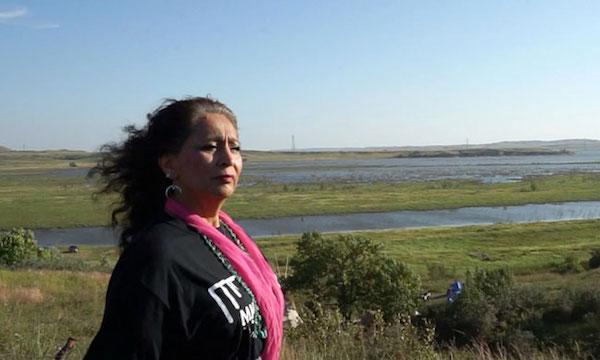 LaDonna Bravebull Allard at Sacred Stones camp along the banks of the Cannonball River. Courtesy Kat Eng.