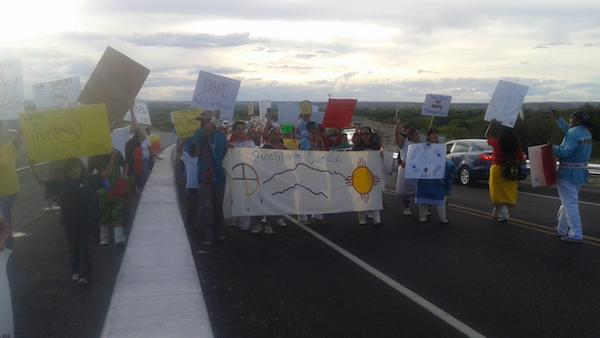 The Pueblo of Sandia took to the streets of Albuquerque on Wednesday September 14 to support the water protectors at Standing Rock in South Dakota. Harlan McKosato.