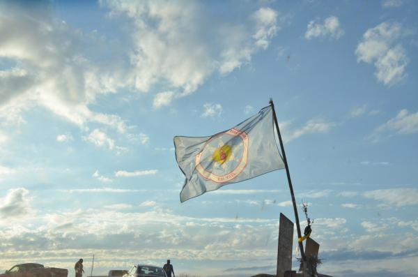 The flag of the Standing Rock Tribe flies on September 7, 2016 near Cannonball, North Dakota.