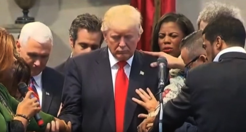Donald Trump in Cleveland prayer huddle -- (YouTube screen grab)