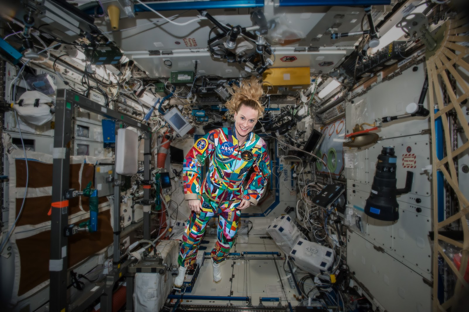 Kate Rubins wears a space suit decorated by patients at the MD Anderson Cancer Center in the International Space Station. All images courtesy of NASA.