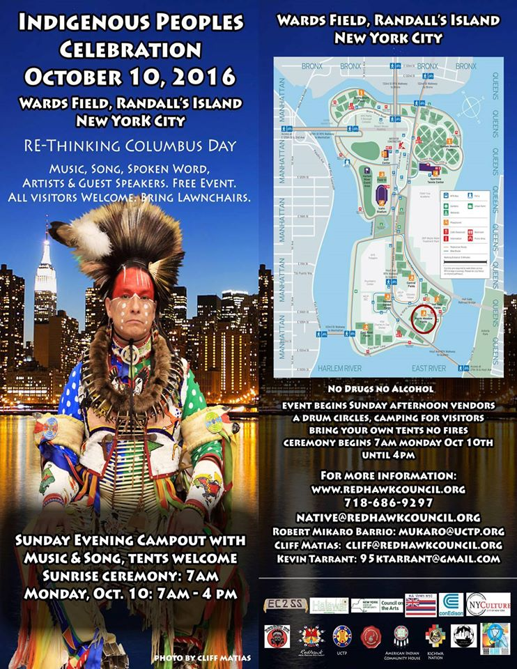 NY Indigenous Peoples Celebration, October 10 - www.redhawkcouncil.org