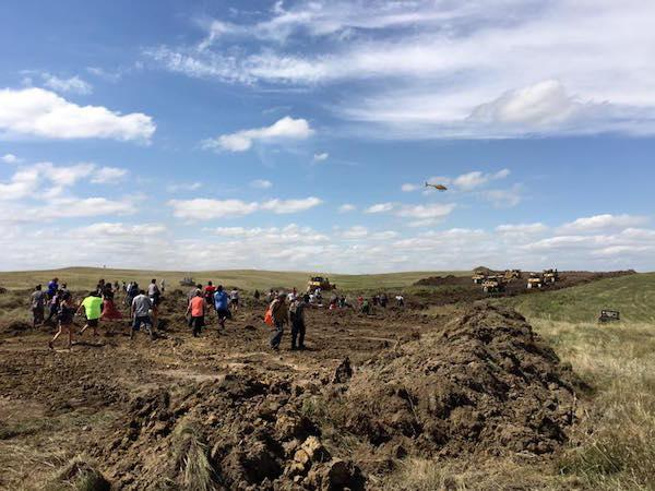 Courtesy Red Warrior Camp/Facebook A three-judge panel has denied the Standing Rock Sioux Tribe's request for an injunction that would stop work on the oil pipeline that is slated to go through treaty-protected, sacred burial sites.