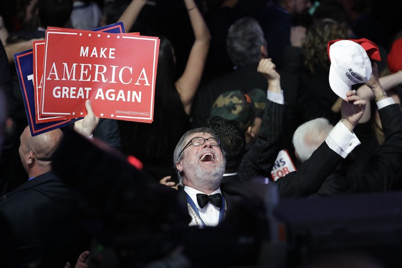 Supporters of Republican presidential candidate Donald Trump react as they watch the election results during Trump's election night rally, Tuesday, Nov. 8, 2016, in New York. CREDIT: AP/John Locher.