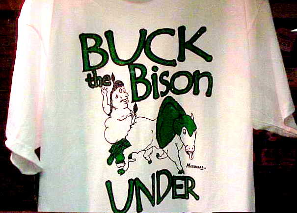An offensive t-shirt labeled 'Buck the Bison Under' - Screen capture.