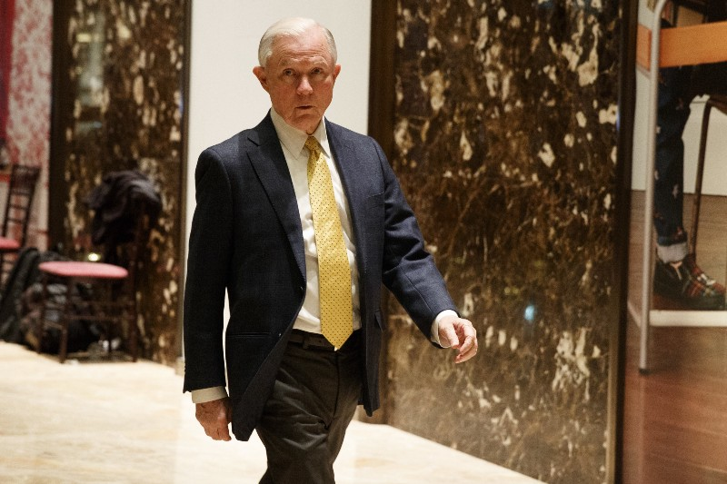 Sen. Jeff Sessions (R-AL), talks with reporters as he arrives at Trump Tower, Monday, Nov. 14, 2016, in New York. CREDIT: AP Photo/ Evan Vucci.