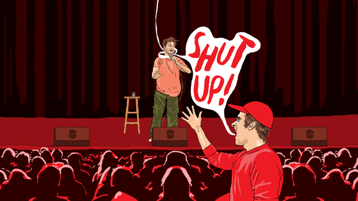 """It's felt pretty Civil War-ish,"" says one comic of the changing atmosphere in clubs. Illustration by Ryan Casey."