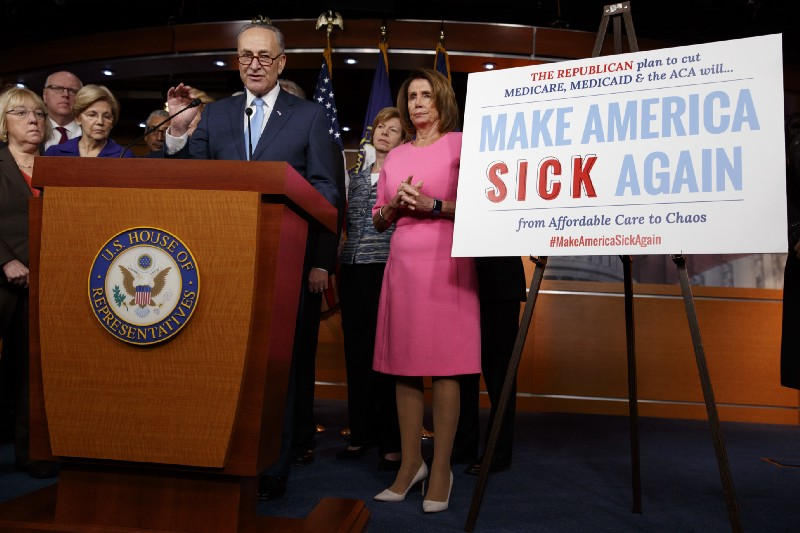 Senate Minority Leader Charles Schumer (D-NY) speaks during a health care news conference to oppose Republicans' effort to repeal the Affordable Care Act. CREDIT: AP Photo/Evan Vucci.