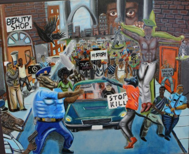 "David Pulphus's painting in response to the Ferguson unrest, ""Untitled #1"", won first place in Missouri's 1st Congressional District in the 2016 United States Congressional Art Competition."