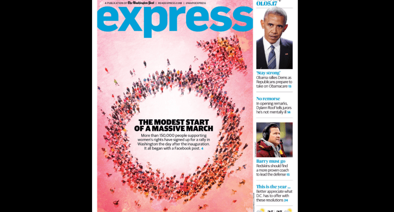 The Washington Post's Express magazine used the symbol for masculinity to illustrate a report on a women's march on Washington (Source: Washington Post Express).