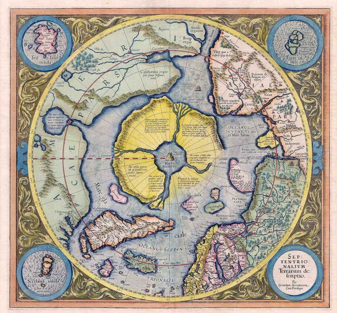 "Map of the Arctic by Gerardus Mercator (first printed 1595, edition from 1623), with the mythical ""Rupes Nigra"" magnetic black rock at the North Pole."