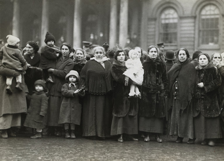 Hundreds of women stormed City Hall in New York in 1917 to demand cheaper food prices. Credit Bettmann Archives, via Getty Images.