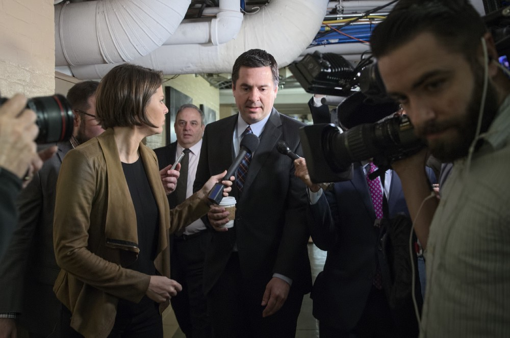 House Intelligence Committee Chairman Nunes arrives for a weekly meeting of the Republican Conference with House Speaker Paul Ryan and the GOP leadership on Wednesday. CREDIT: AP Photo/J. Scott Applewhite.