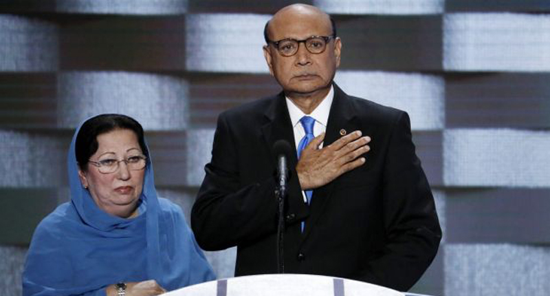 Khizr Khan speaks at the Democratic National Convention accompanied by his wife Ghazala -- screenshot.
