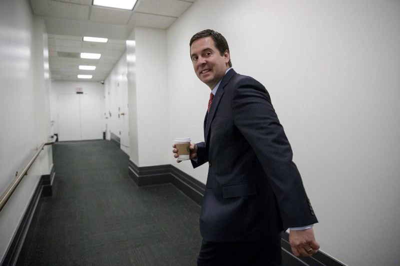 House Intelligence Committee Chairman Rep. Devin Nunes, R-Calif., arrives for a closed-door GOP strategy session on Capitol Hill in Washington, Tuesday, April 4, 2017. CREDIT: AP Photo/J. Scott Applewhite.
