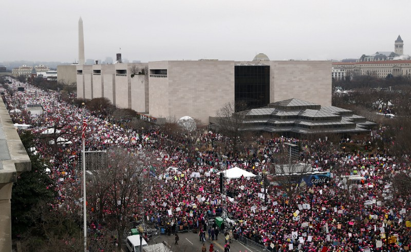 Hundreds of thousands of women marched on Washington to protest Donald Trump's presidency. CREDIT: AP Photo/Alex Brandon.