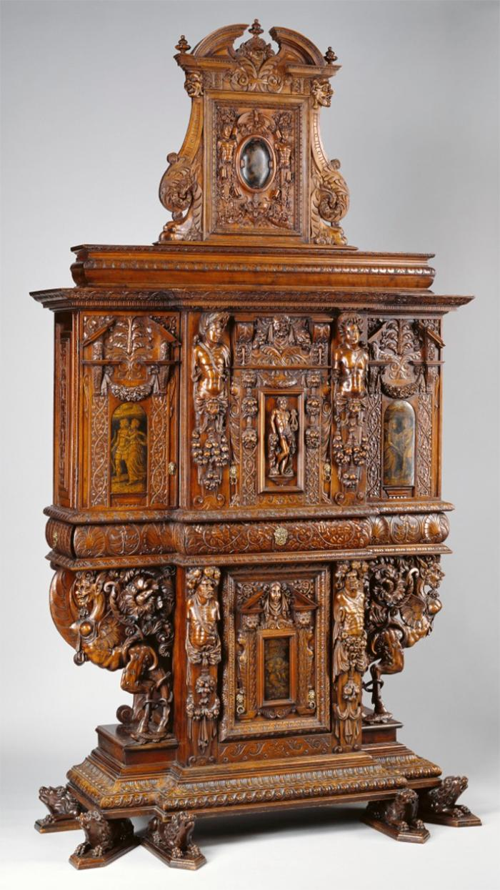 French Renaissance Cabinet from Burgundy, dated 1580 (minor additions in late 1850s), from the J. Paul Getty Museum collection.