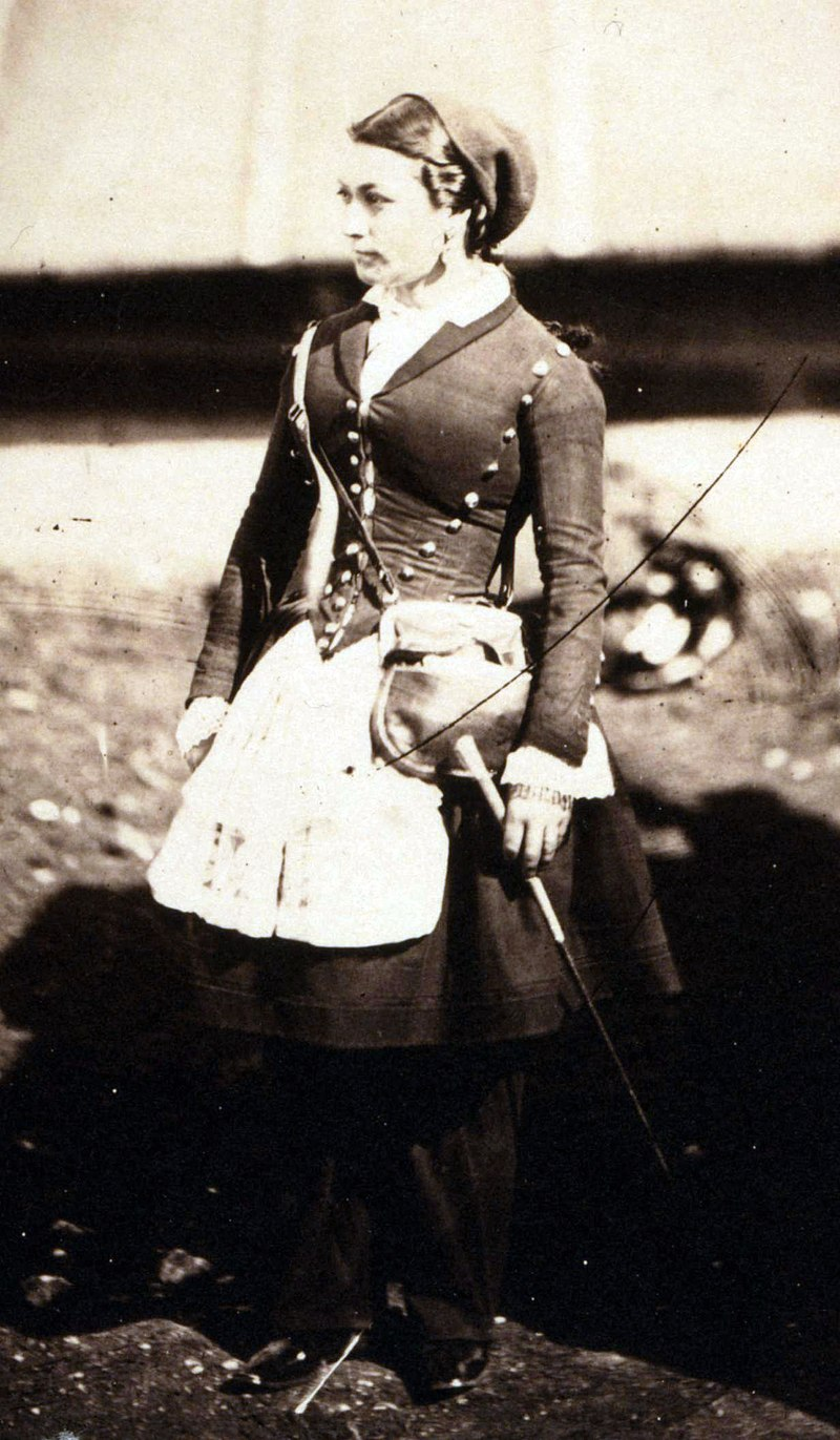 A French cantinière in the Crimea during the Crimean War in 1855, photographed by Roger Fenton.