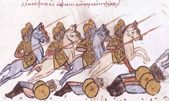 A scene of Byzantine warfare from the Madrid Skylitzes.