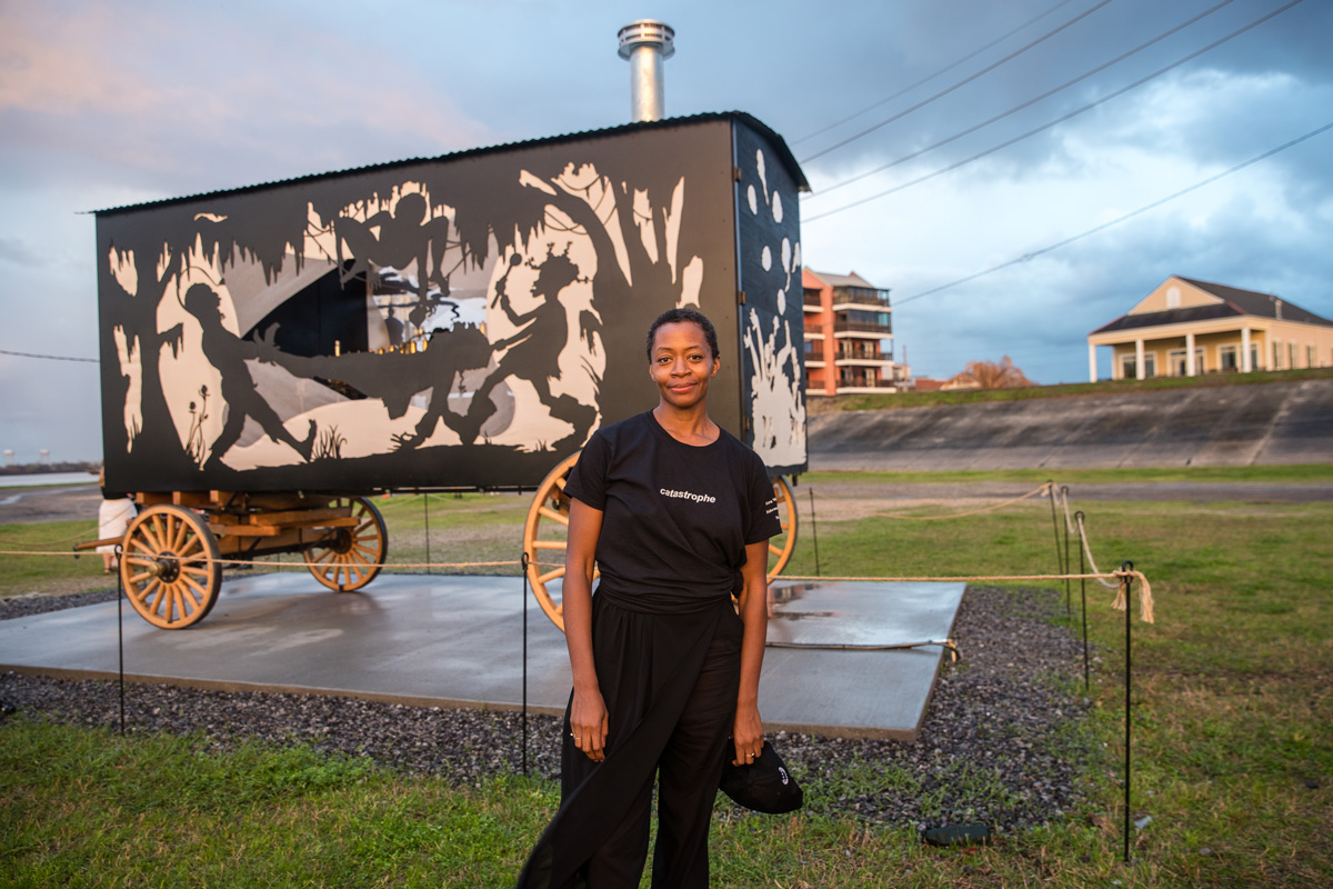 "Kara Walker with her ""Katastwóf Karavan"" at the Mississippi River Trail on February 23, 2018, in New Orleans. Josh Brasted/Getty Images."