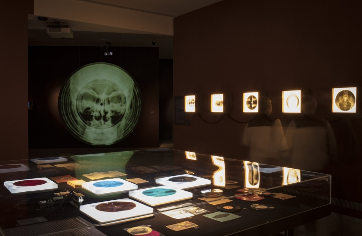 Installation view of 'Forbidden Music: X-Ray Audio in the USSR, 1946 – 1964' at the Tel Aviv Museum of Art.