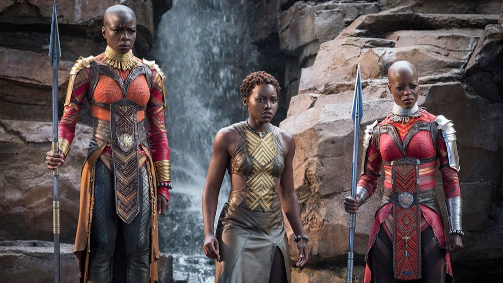 "Members of the Dora Milaje in ""Black Panther."" From left: Okoye (Danai Gurira), Nakia (Lupita Nyong'o) and Ayo (Florence Kasumba). Matt Kennedy / Marvel Studios"