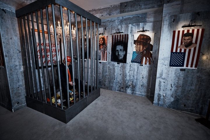"""Installation view of Indecline's """"The People's Prison"""" (2018) at the Trump International Hotel & Tower."""