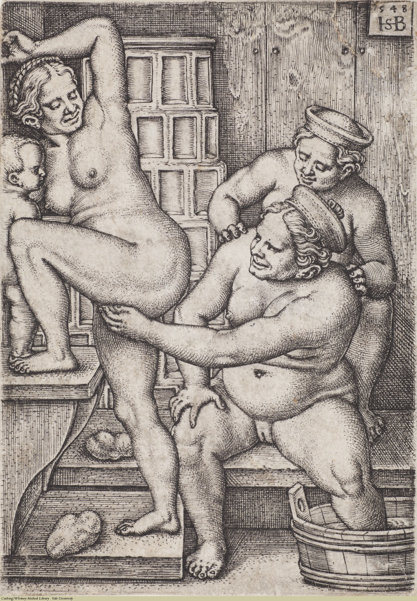 Three Women in the Bath, Hans Sebald Beham, Engraving, 1548. Subject: Public Baths, Sexual Behaviour.