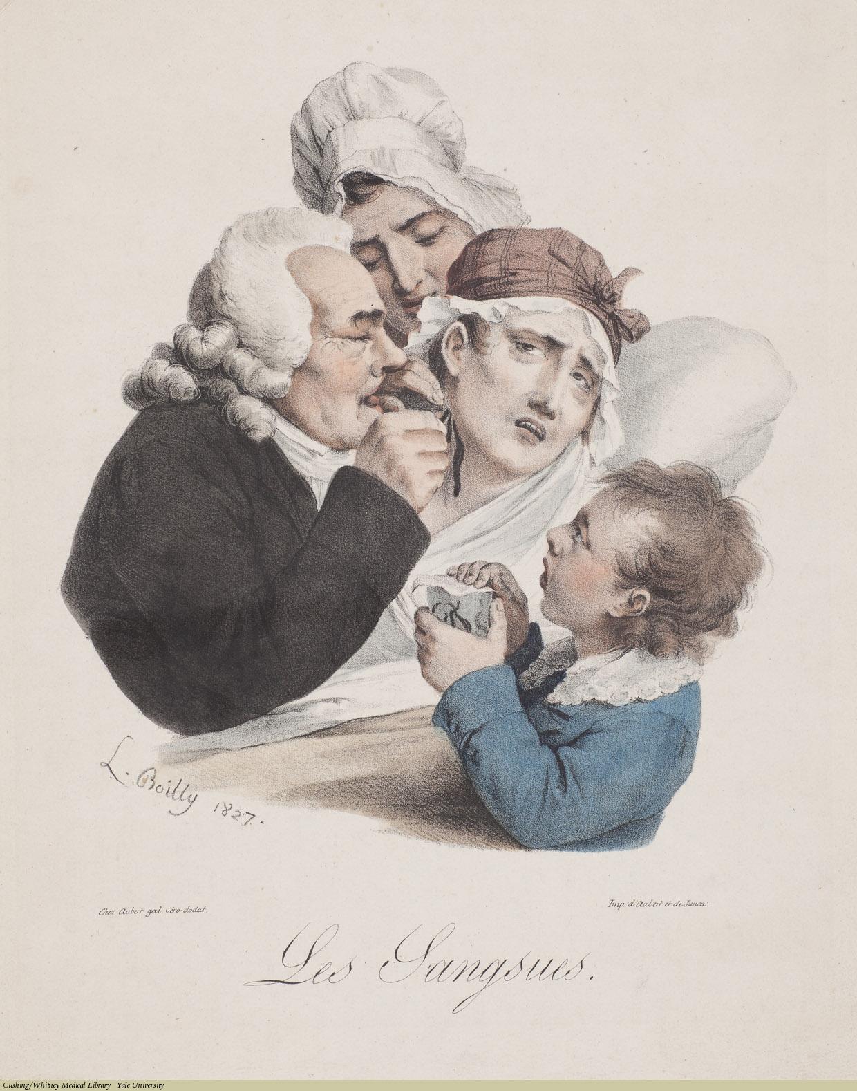 Les Sangsues, Louis-Léopold Boilly, Lithograph,1827.
