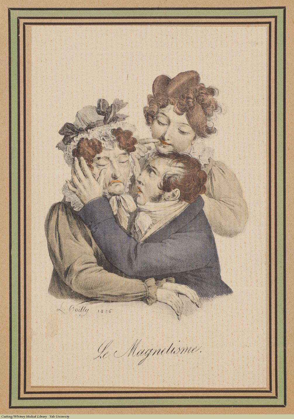 Louis-Léopold Boilly, Le Magnetisme (Hypnotism), Lithograph, 1826.