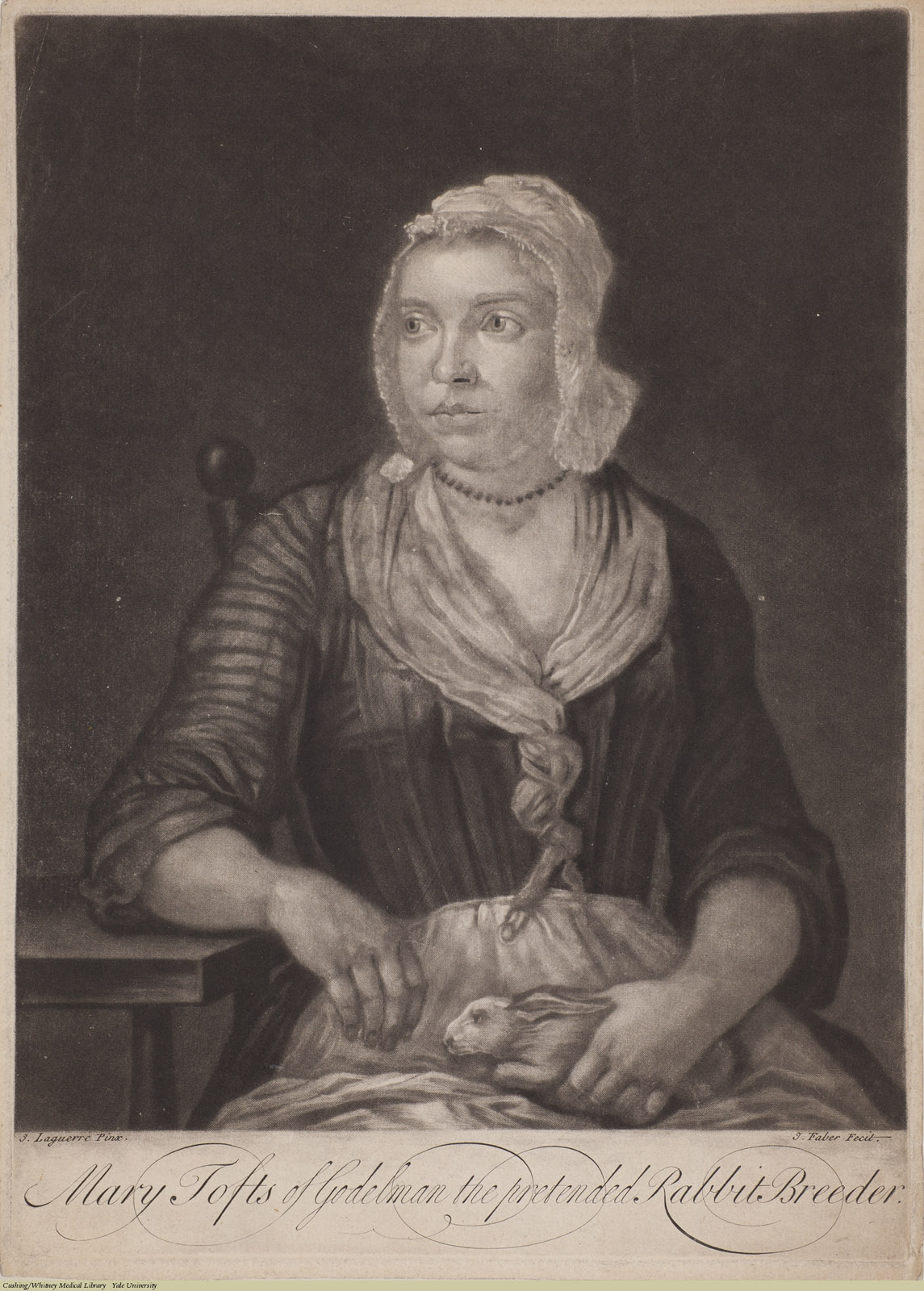 Mary Tofts of Godelman the pretended Rabbit Breeder, mezzotint, John Laguerre, c. 1726.
