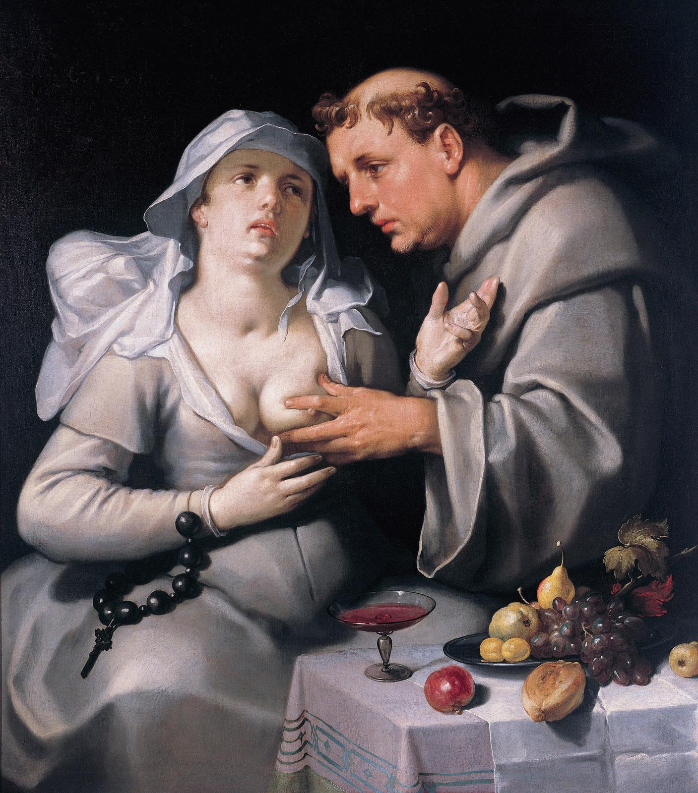 Een monnik en een begijn, A monk with a beguine, by Cornelis Cornelisz van Haarlem.