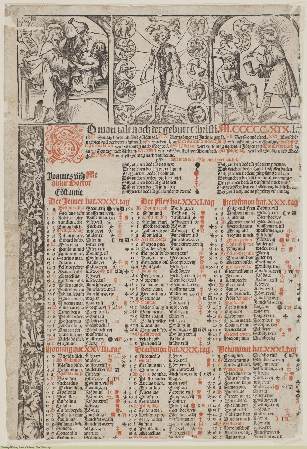 [Bloodletting Calendar] So man zalt nach der geburt Christ M.CCCCC.XIX. Anonymous, German, 1519. Subject: Phlebotomy, Almanacs & Calenders, Astrology, Saints, Uroscopy, Saint Cosmas, Saint Damian.