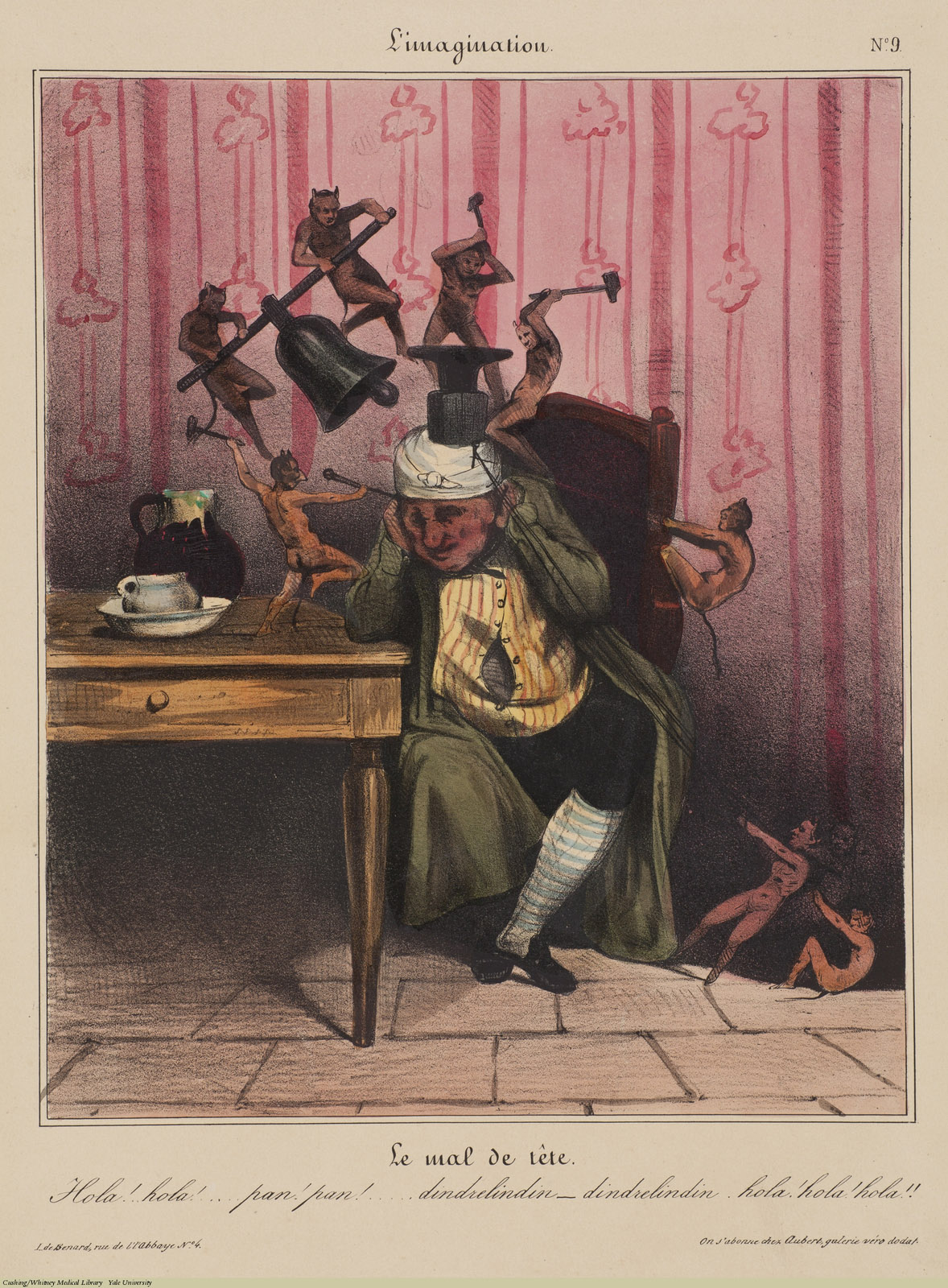 Le mal de tete. Charles Ramelet / Honore Daumier, Lithograph coloured. Subject: Headache, Depiction of Pain.