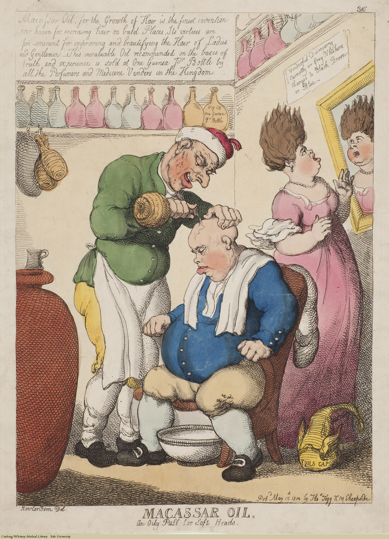 Macassar Oil, An oily Puff for Soft Heads. Thomas Rowlandson, Etching coloured, 1814. Subject: Macassar Oil, Rowland's Oil,Alexander Rowland,baldness,hair Tonic, Hair Oil,Proprietary Medicines.