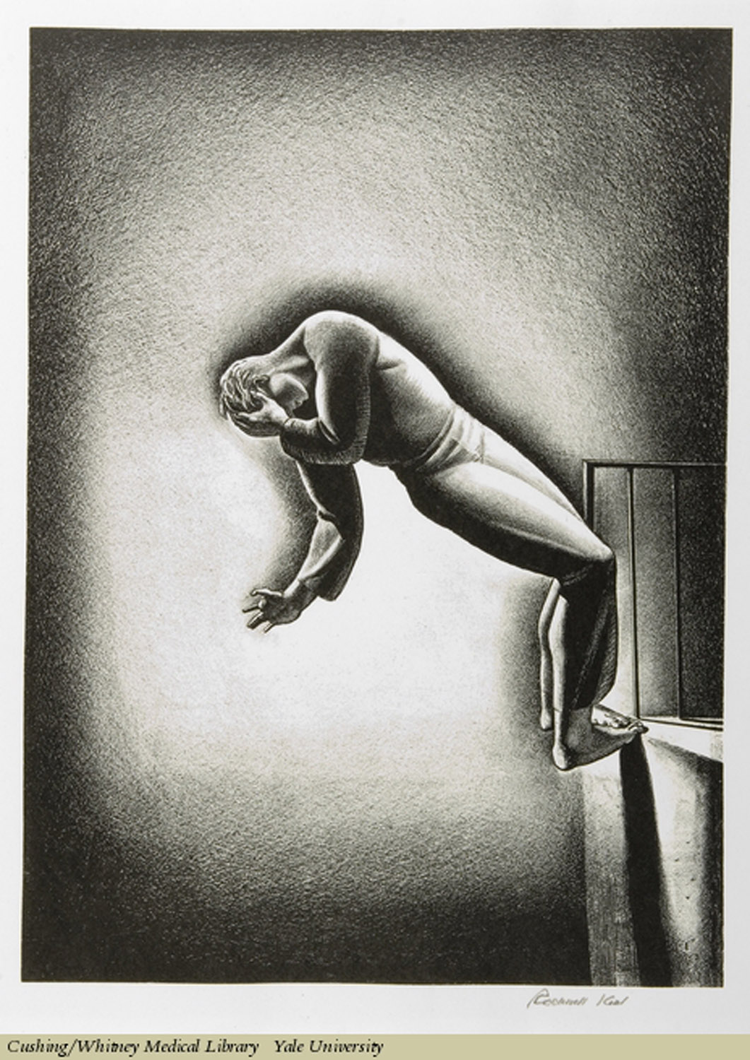 Nightmare. Rockwell Kent, Lithograph. Subject: Nightmares, Suicide.